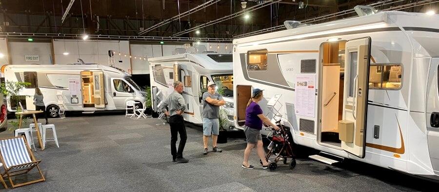 Covi Supershow 2021 attendees inspecting Burstner motorhome