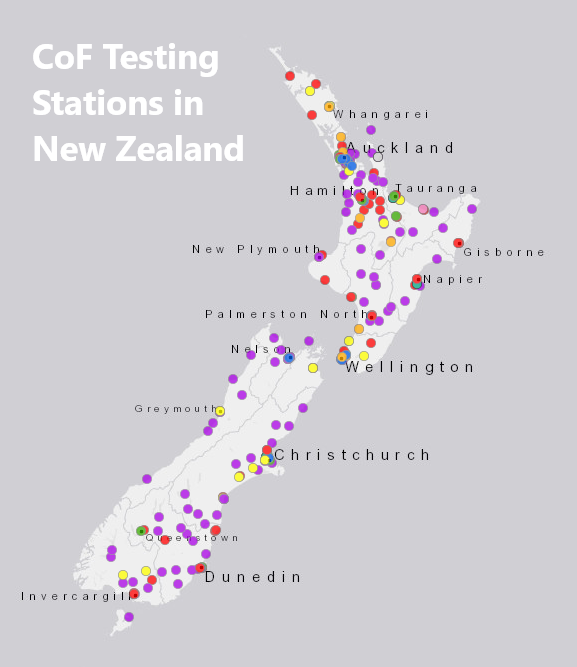 Certificate of fitness testing stations on New Zealand map text