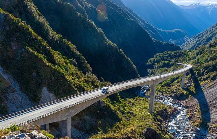 Driving-Burstner-motorhome-Arthurs-pass